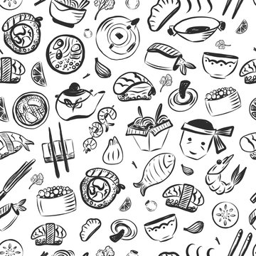 Doodle asian food seamless pattern. Japanese reastaurant cafe identity. Vector illustration