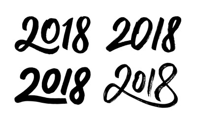Happy New Year 2018. Hand drawn script numbers set for Chinese for Year of the Dog. Vector illustration.