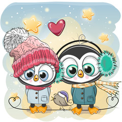 Winter illustration Penguin Boy and Girl in hats and coats