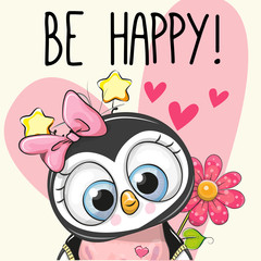 Be Happy Greeting card Penguin with hearts