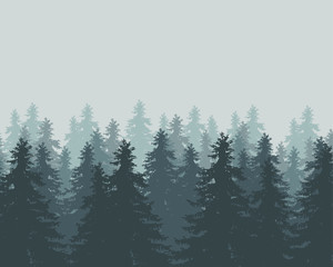 Vector illustration of winter forest with fog and mist