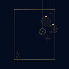 Ornament of decorative light New Year's golden balls for Christmas and New Year Pattern for postcard invitation advertising Winter festive background An empty graphic template with a gold frame Vector