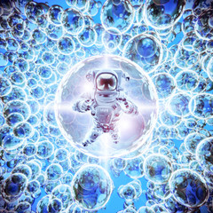 Infinite galaxies astronaut / 3D illustration of astronaut floating among bright glowing galactic spheres