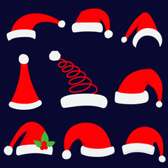 Santa christmas hat vector illustration. Red santa top hat set.