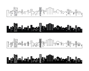 Set of black and white silhouettes of buildings