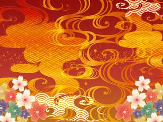 赤と波と桜の和柄の背景
