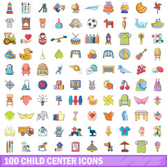 100 child center icons set, cartoon style