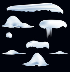 set of snow caps, icicles, snowball and snowdrift isolated on transparent background. Winter decorations. Seasonal elements for design