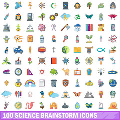 100 science brainstorm icons set, cartoon style