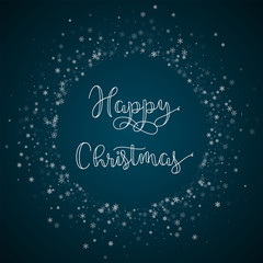 Happy Christmas greeting card. Beautiful snowfall background. Beautiful snowfall on blue background.great vector illustration.