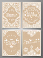 Set Of Christmas  Greeting Cards.