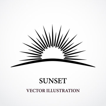 Contour stylized sunset black