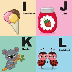 Vector illustration of alphabet kit which include i,j,k,l