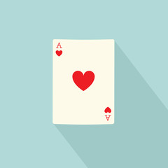 Ace of hearts poker card isolated. Ace of hearts symbol. Vector stock.