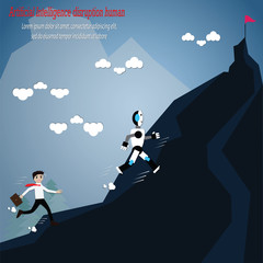 Cartoon Artificial Intelligence disruption human climbling moutain - vector