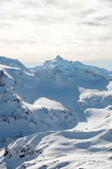 snow-capped peaks of the mountains of the Caucasian ridge