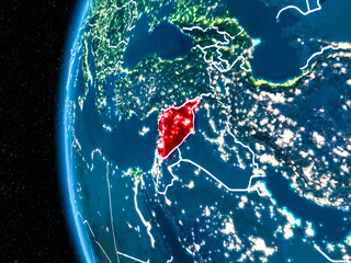 Syria on Earth at night