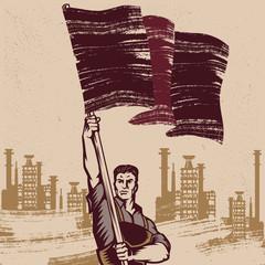 Vintage Revolution Poster. Propaganda Logo Background Style Revolution raising The Flag.