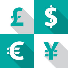 Currency exchange icons with long shadow. Dollar, euro, pound sterling and yen. Flat design style. Currency simple silhouette. Modern color icons. Web site page and mobile app design vector element.