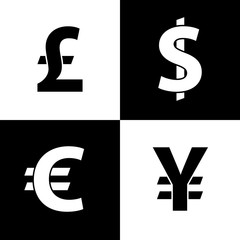 Currency exchange icons. Dollar, euro, pound sterling and yen. Black icons isolated on white background. Currency simple silhouette. Web site page and mobile app design vector element.