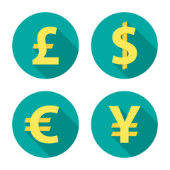 Currency exchange circle icons with long shadow. Dollar, euro, pound, yen. Flat design style. Currency simple silhouette. Modern round color icons. Web site page and mobile app design vector element.