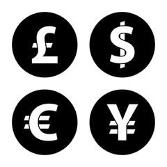 Currency exchange circle icons. Dollar, euro, pound sterling and yen. Black round icon isolated on white background. Currency simple silhouette. Web site page and mobile app design vector element.