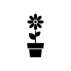 Flower in pot icon. Black, minimalist icon isolated on white background. Flower simple silhouette. Web site page and mobile app design vector element.