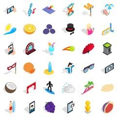 Miami beach icons set, isometric style