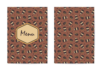 Menu template. Coffee restaurant brochure, coffee shop menu design.  cafe template with hand-drawn pattern. Coffee flyer. Double-sided menu cover.