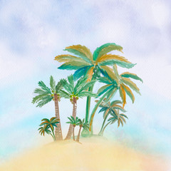 Watercolor palm trees illustration