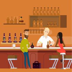 people at bar flat illustration