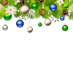Vector Christmas horizontal seamless background with blue, green and silver balls, green fir branches, white poinsettia flowers and cones.