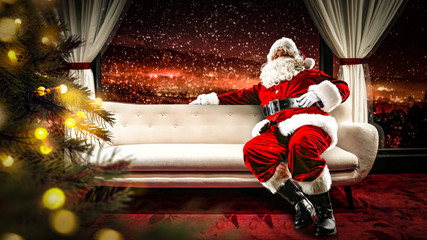 Santa Claus and sofa in home place