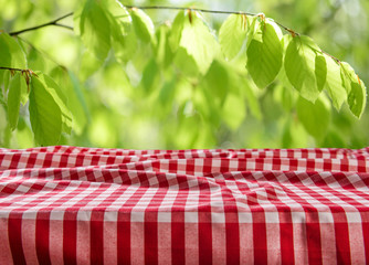 Empty checkered table background
