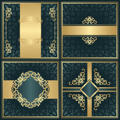 Set of invitations with vintage decoration and borders. Vintage frames and decorative elements. All cards have seamless wallpaper