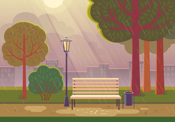 Rainy summer day in the park. Vector illustration of raining in city park with town building background, path, bench and street lamp.