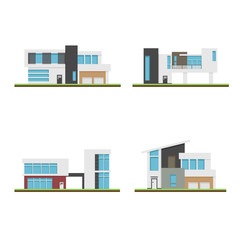 Set of four houses and modern houses, Modern building and architecture, Collection of home vector illustration