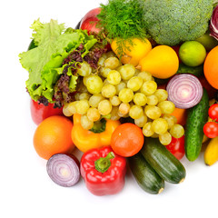 Big collection of fruits and vegetables isolated on white background.