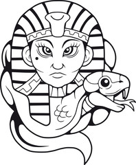Egyptian queen Cleopatra and her cobra