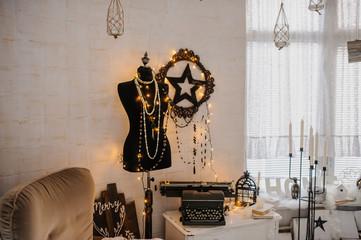 Vintage room: black mannequin, star deocration