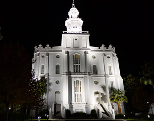 Frontview of the St. George Temple for the Church of Jesus Christ of Latter Day Saints at night- the oldest temple that is still active for the church.