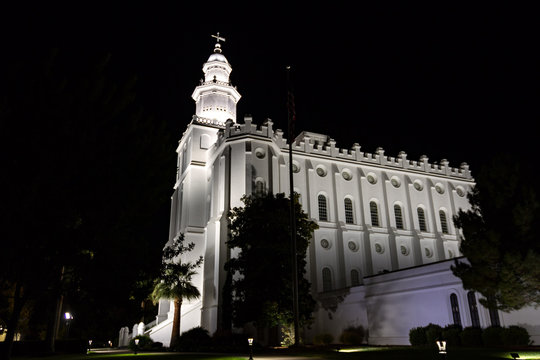 Evening side view of the St. George Temple for the Church of Jesus Christ of Latter Day Saints- the oldest temple that is still active for the church.