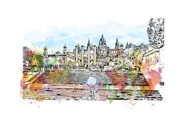 Watercolor painting with splash and sketch of National Museum in Barcelona,Placa De Espanya,Spain in vector illustration.