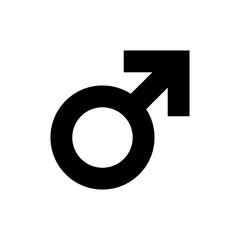 Male sex symbol icon. Black, minimalist icon isolated on white background. Gender symbol simple silhouette. Web site page and mobile app design vector element.