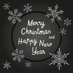 Merry Christmas and Happy New Year greeting card. Stylish black vector design