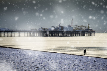 Brighton pier and seafront snowy scene