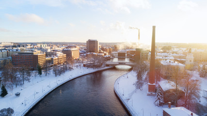 Aerial panoramic view of Tampere city center at winter, Finland