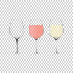 Isometric set of white, rose, and red wine bottles and glas. Vector illustration isolated on transparent background