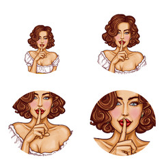 Set vector pop art round avatar icons for users social networking, blogs, profile icons. Sexy girl with brown hair holding her finger on her lips and asking for silence, quiet, do not tell anyone