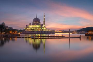 Beautiful putra Mosque view in morning at Putrajaya, Malaysia
